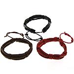 Cord lëkure byzylyk, Lëkurë, with Cord Wax, Shape Tjera, asnjë, asnjë, ngjyra të përziera, 13mm, 6mm, :6-9Inç, 50Fillesat/Shumë,  Shumë