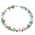 Bracelets Crystal, Kristal, with Tunxh, Rondelle, faceted & me diamant i rremë, ngjyra të përziera, 5x8mm, :7Inç, 50Fillesat/Qese,  Qese