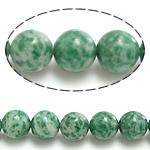 Beads Stone gjelbër Spot, Round, natyror, 6mm, : 1mm, : 15.5Inç, 10Fillesat/Shumë,  Shumë