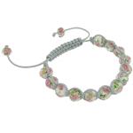 Lampwork Shamballa Bracelets, with Cord Wax, Rondelle, endura, faceted, 8x10mm, :7.5Inç,  7.5Inç,