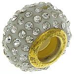 Rrëshirë Beads European, Rondelle, ngjyrë ari praruar, core bronzi të dyfishtë pa karrem & me diamant i rremë, e bardhë, 9.50x14mm, : 5.2mm, 20PC/Qese,  Qese