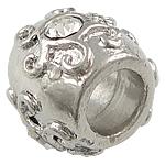 Beads European aliazh zink, Alloy zink, Daulle, ngjyrë platin praruar, pa karrem & me diamant i rremë, asnjë, , nikel çojë \x26amp; kadmium falas, 12.20x10mm, : 5.5mm, 80PC/Qese,  Qese