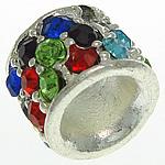 Beads European aliazh zink, Alloy zink, Tub, Ngjyra argjend praruar, pa karrem & me diamant i rremë, asnjë, , nikel çojë \x26amp; kadmium falas, 12.50x9.50mm, : 6.2mm, 30PC/Qese,  Qese