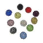 Rrëshirë Beads diamant i rremë, Rrëshirë diamant i rremë, Round, asnjë, me diamant i rremë, ngjyra të përziera, 10mm, : 2mm, 50PC/Qese,  Qese