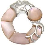 Pendants Natyrore Pink Shell, Petull e ëmbël në formë gjevreku, rozë, 27x30x5mm, : 6x3mm, 10PC/Qese,  Qese