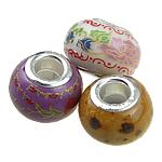 Porcelani Beads European, Rondelle, i praruar, core bronzi të dyfishtë pa karrem, ngjyra të përziera, 14.50x11mm, : 5mm, 100PC/Qese,  Qese