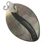 Pendants Natyrore Zi Shell, Black Shell, Oval, natyror, approx 31.5x54x6mm, : 3mm, 10PC/Qese,  Qese