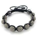 Diamant i rremë Shamballa Bracelets, Argjilë, Round, me diamant i rremë, 10mm, 8mm, :6-11Inç, 10Fillesat/Shumë,  Shumë