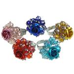 Ring Finger Crystal, Kristal, with Alumin & Hekur, Lule, ngjyra të përziera, 8x6mm, : 18-20mm, 50PC/Kuti,  Kuti