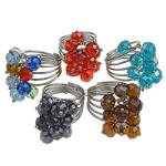 Ring Finger Crystal, Kristal, with Hekur, ngjyra të përziera, 6x8mm, : 18-20mm, 50PC/Kuti,  Kuti