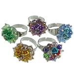 Ring Finger Crystal, Kristal, Lule, ngjyra të përziera, 6x4mm, : 18-19mm, 50PC/Kuti,  Kuti