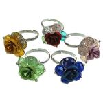 Ring Finger Crystal, Kristal, with Alumin & Hekur, Lule, ngjyra të përziera, 6x8mm, : 18-20mm, 100PC/Kuti,  Kuti