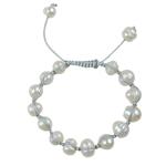 Ujërave të ëmbla Pearl Shamballa Bracelets, Pearl kulturuar ujërave të ëmbla, with Cord Wax, Shape Tjera, punuar me dorë, e bardhë, 8-10mm, :7Inç, 10Fillesat/Qese,  Qese