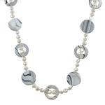 Natyrore ujërave të ëmbla Pearl gjerdan, Pearl kulturuar ujërave të ëmbla, with Predhë, Monedhë, natyror, e bardhë, 5-6mm, 19x2.5mm, :31.5Inç,  31.5Inç,