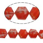 Millefiori Perlen, Kristall, Sechseck, rot, 14x16x10mm, Bohrung:ca. 1.5mm, 20PCs/Strang, verkauft per 12 ZollInch Strang