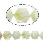 Millefiori Perlen, Kristall, Sechseck, weiß, 14x16x10mm, Bohrung:ca. 1.5mm, 20PCs/Strang, verkauft per 12 ZollInch Strang