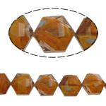 Millefiori Perlen, Kristall, Sechseck, Kaffeefarbe, 14x16x10mm, Bohrung:ca. 1.5mm, 20PCs/Strang, verkauft per 12 ZollInch Strang