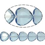 Beads Crystal Heart, Kristal, Zemër, Lt Sapphire, 16x16x8mm, : 1.5mm, :10.5Inç, 18PC/Fije floku,  10.5Inç,