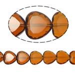 Herz Kristallperlen, Kristall, Rauchtopas, 16x16x8mm, Bohrung:ca. 1.5mm, 18PCs/Strang, verkauft per 10.5 ZollInch Strang