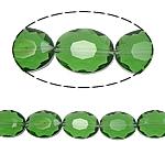 Beads Ovale Crystal, Kristal, asnjë, Gjelbër fier, 12x16x8mm, : 2mm, :15.7Inç, 25PC/Fije floku,  15.7Inç,