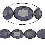 Ovale Kristallperlen, Kristall, violett, 12x16x8mm, Bohrung:ca. 2mm, 25PCs/Strang, verkauft per 15.7 ZollInch Strang
