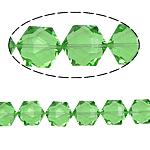Gjashtëkëndësh Beads Crystal, Kristal, Peridot, 13x16x11mm, : 1.5mm, :12Inç, 20PC/Fije floku,  12Inç,