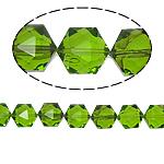 Gjashtëkëndësh Beads Crystal, Kristal, Gjelbër fier, 13x16x11mm, : 1.5mm, :12Inç, 20PC/Fije floku,  12Inç,