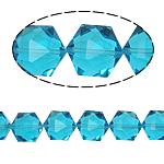 Gjashtëkëndësh Beads Crystal, Kristal, Akuamarin, 13x16x11mm, : 1.5mm, :12Inç, 20PC/Fije floku,  12Inç,