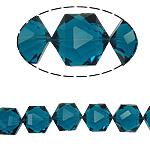 Gjashtëkëndësh Beads Crystal, Kristal, Indicolite, 13x16x11mm, : 1.5mm, :12Inç, 20PC/Fije floku,  12Inç,