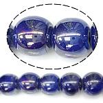 Beads pearlized Porcelani, Round, i praruar, blu të errët, 9-10x11mm, : 2mm, 100PC/Qese,  Qese