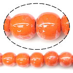 Beads pearlized Porcelani, Round, i praruar, portokall, 9-10x11mm, : 2mm, 100PC/Qese,  Qese