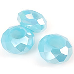 European Beads Crystal, Kristal, Rondelle, asnjë, pa karrem & faceted, Akuamarin, 8-9x14-15mm, : 6mm, 100PC/Qese,  Qese