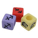 Alphabet Acryl Perlen, Würfel, gemischte Farben, 7mm, Bohrung:ca. 4mm, 1900PCs/Tasche, verkauft von Tasche