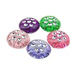 Silberdruck Acrylperlen, Acryl, flachoval, gemischte Farben, 10x5mm, Bohrung:ca. 1mm, 1980PCs/Tasche, verkauft von Tasche