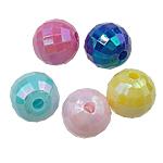 Plattierte Acrylperlen, Acryl, Abakus, AB Farben platiniert, Volltonfarbe, gemischte Farben, 8mm, Bohrung:ca. 1.5mm, 1900PCs/Tasche, verkauft von Tasche
