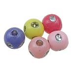 Theks Silver Beads akrilik, Round, theks argjendi, ngjyra të përziera, 5mm, : 1mm, 9500PC/Qese,  Qese