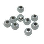 Beads akrilik Mrekulli, Round, matte argjendi, 6mm, : 1.5mm, 4330PC/Qese,  Qese