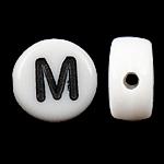 Alphabet Acryl Perlen, Münze, weiß, 4x7mm, Bohrung:ca. 0.5mm, 3600-3700PCs/Tasche, verkauft von Tasche