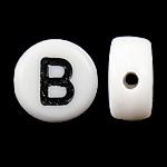 Beads akrilik alfabet, Monedhë, mrekulli, 4x7mm, : 0.5mm, 3600-3700PC/Qese,  Qese