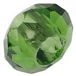 European Beads Crystal, Kristal, Rondelle, pa karrem, Olivine, 8-9x14-15mm, : 6mm, 100PC/Qese,  Qese