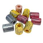 Beads Printime akrilik, Tub, ngjyra të përziera, 11x14.50mm, : 4.5mm, 395PC/Qese,  Qese
