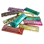 Beads akrilik të përziera, Drejtkëndësh, ngjyra të përziera, 12x37x7.50mm, : 2.5mm, 200PC/Qese,  Qese