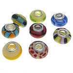 European Beads bizhuteri Polimer balta, Polymer Clay, Rondelle, Ngjyra argjend praruar, pa karrem, ngjyra të përziera, 9-10x14-15mm, : 4.5-5mm, 100PC/Qese,  Qese