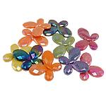 AB-ngjyra akrilik Beads kromuar, Flutur, Ngjyra AB kromuar, ngjyra të përziera, 29x22x5mm, : 2mm, 310PC/Qese,  Qese