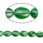 Millefiori Perlen, Kristall, flachoval, facettierte, grün, 13x18x8mm, Bohrung:ca. 2mm, 20PCs/Strang, verkauft per 15.7 ZollInch Strang