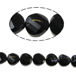 Millefiori Perlen, Kristall, Twist, schwarz, 14x7mm, Bohrung:ca. 2mm, 25PCs/Strang, verkauft per 13.7 ZollInch Strang