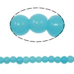Runde Kristallperlen, Kristall, Türkis, 6mm, Bohrung:ca. 1.5mm, Länge:11.8 ZollInch, 10SträngeStrang/Tasche, verkauft von Tasche