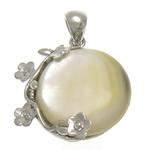 Pendants Natyrore White Shell, Round Flat, natyror, e bardhë, 23x23x5mm, : 4x5mm, 10PC/Shumë,  Shumë