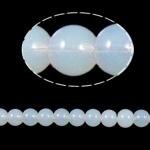 Runde Kristallperlen, Kristall, weißer Opal, 8mm, Bohrung:ca. 1.5mm, Länge:12 ZollInch, 10SträngeStrang/Tasche, verkauft von Tasche