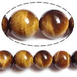 Tigerauge Perlen, rund, natürlich, 12mm, Bohrung:ca. 1.2mm, Länge:15 ZollInch, 5SträngeStrang/Menge, verkauft von Menge
